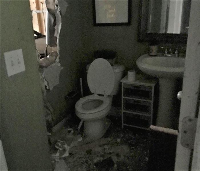 bathroom damaged by house fire